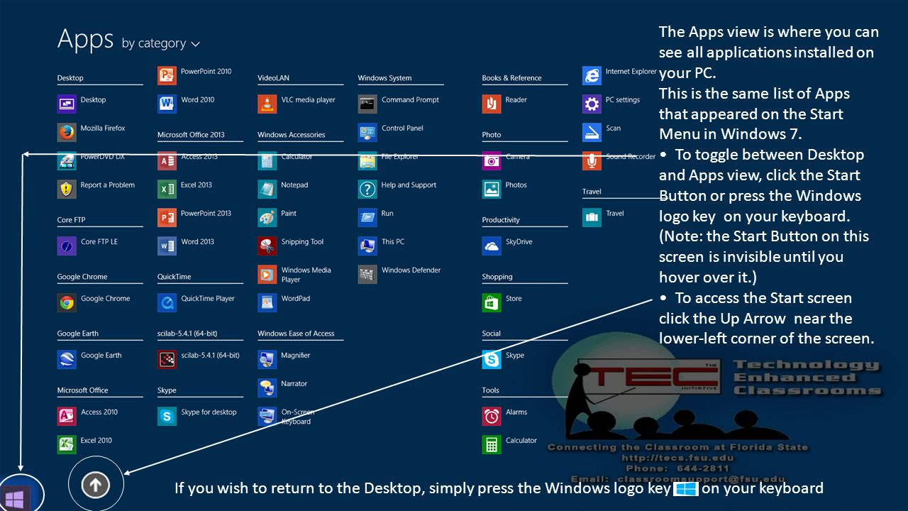 The Apps view is where you can see all applications installed on your PC.