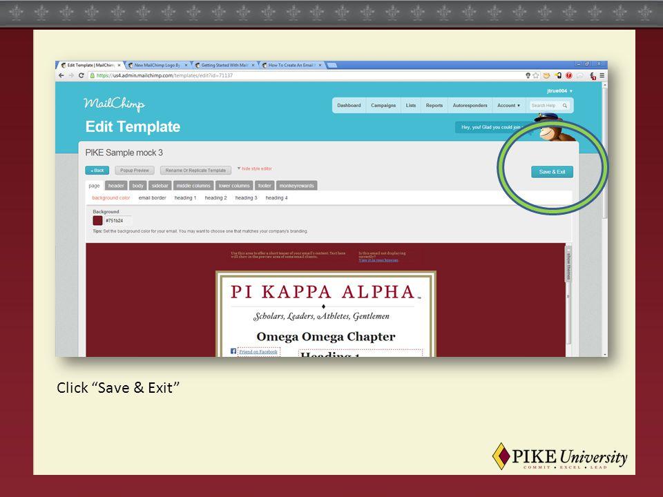 Click Save & Exit