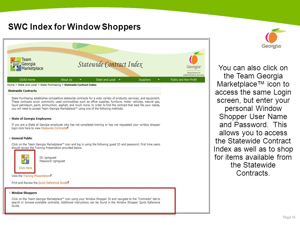Page 18 SWC Index for Window Shoppers You can also click on the Team Georgia Marketplace™ icon to access the same Login screen, but enter your persona