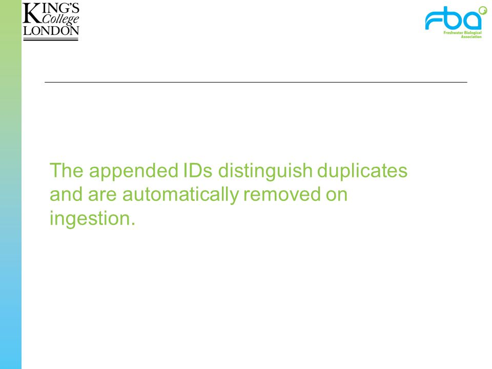 The appended IDs distinguish duplicates and are automatically removed on ingestion.