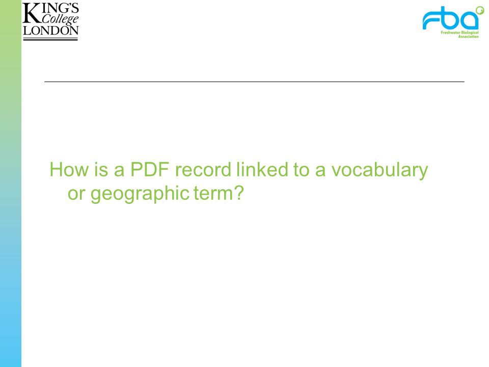 How is a PDF record linked to a vocabulary or geographic term