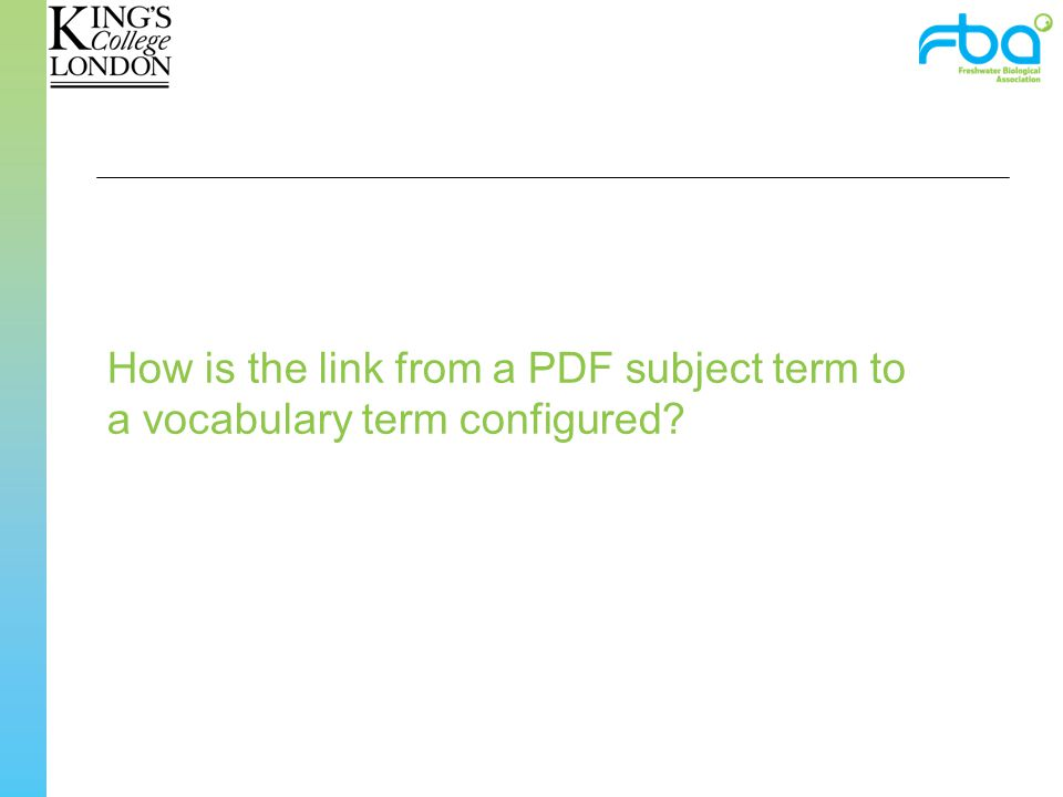 How is the link from a PDF subject term to a vocabulary term configured