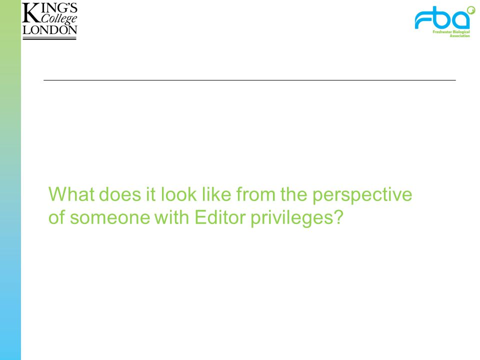 What does it look like from the perspective of someone with Editor privileges