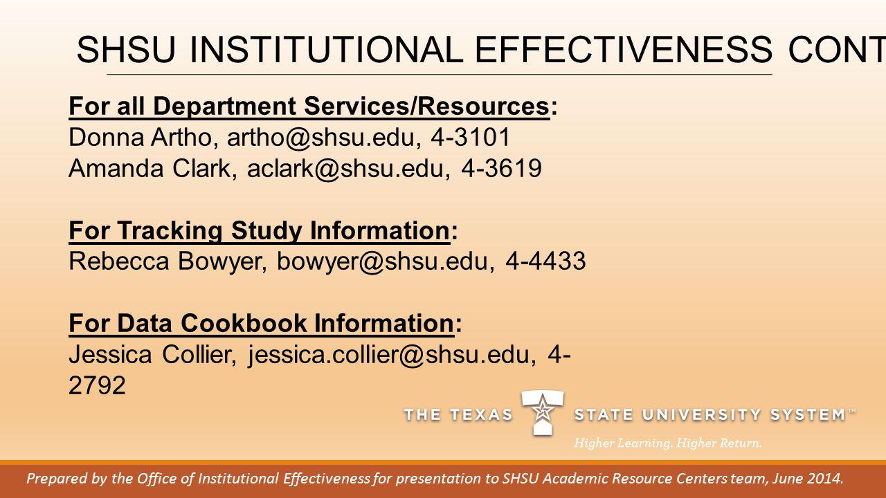 For all Department Services/Resources: Donna Artho, artho@shsu.edu, 4-3101 Amanda Clark, aclark@shsu.edu, 4-3619 For Tracking Study Information: Rebec
