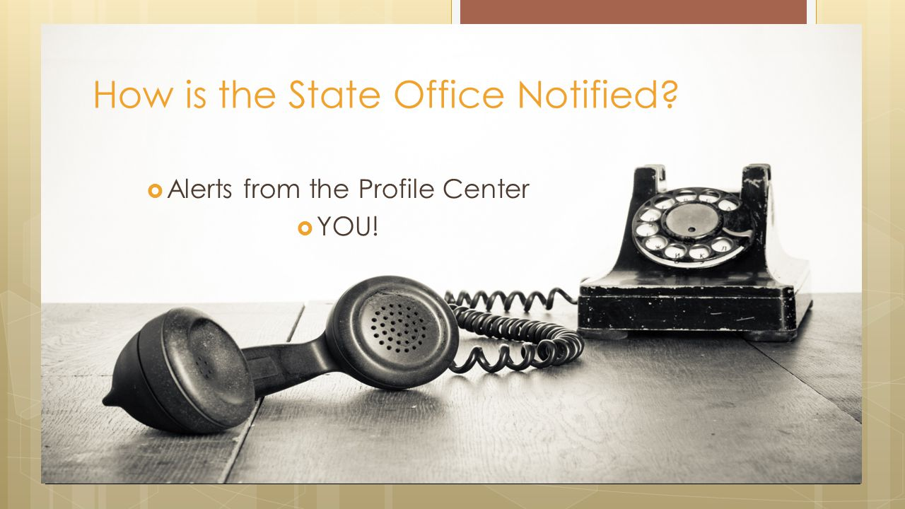  Alerts from the Profile Center  YOU! How is the State Office Notified?