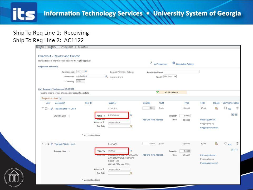 Ship To Req Line 1: Receiving Ship To Req Line 2: AC1122