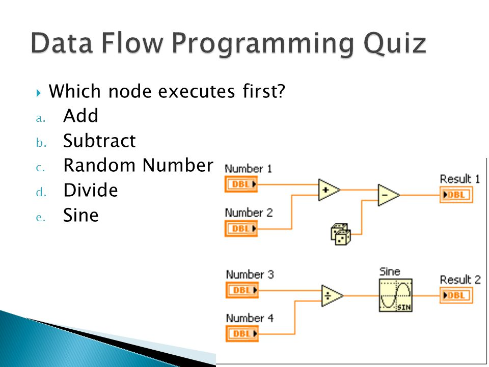  Which node executes first a. Add b. Subtract c. Random Number d. Divide e. Sine