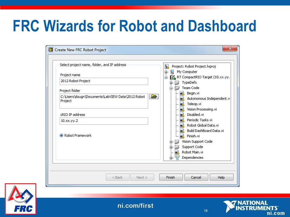 18 FRC Wizards for Robot and Dashboard