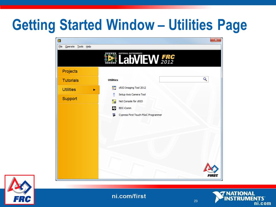 23 Getting Started Window – Utilities Page