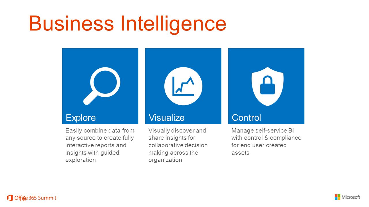 Business Intelligence Easily combine data from any source to create fully interactive reports and insights with guided exploration Visually discover and share insights for collaborative decision making across the organization Manage self-service BI with control & compliance for end user created assets 16
