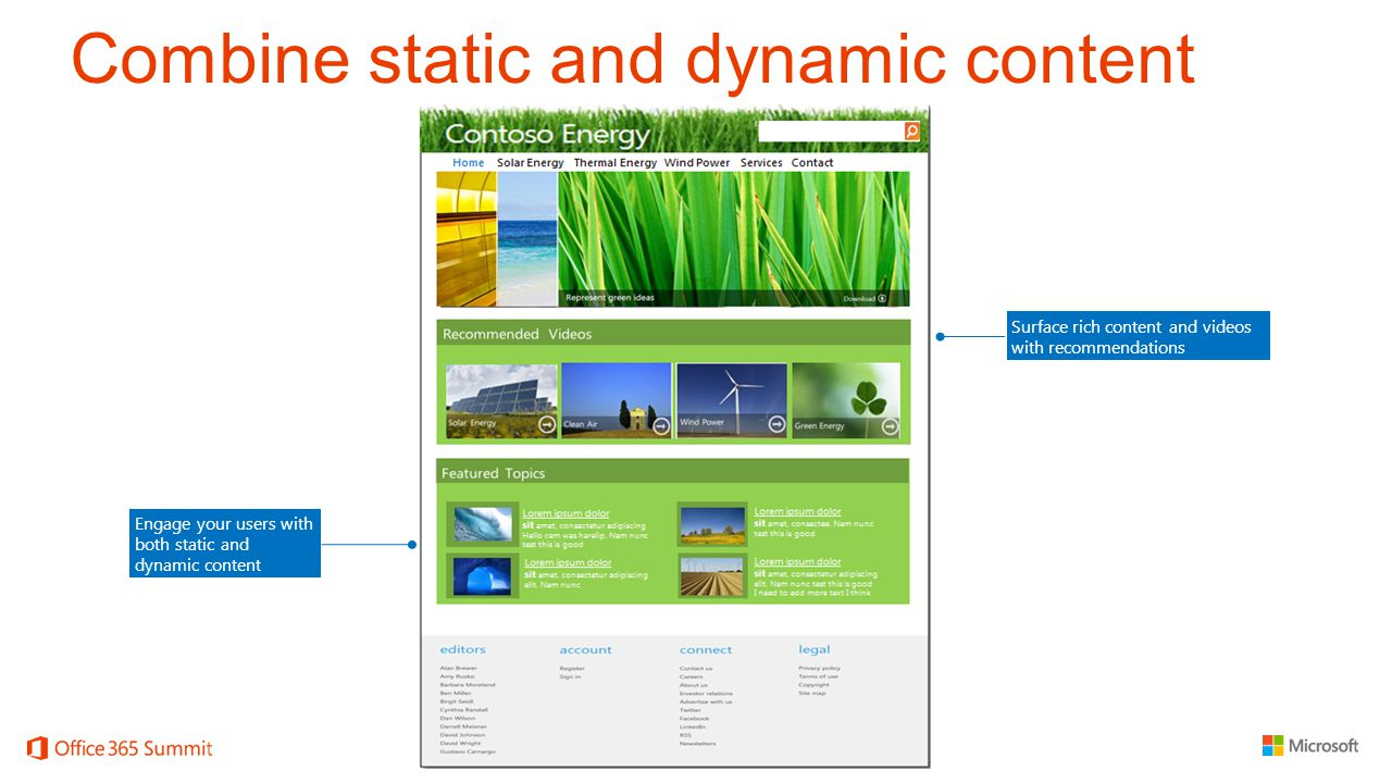 Combine static and dynamic content Engage your users with both static and dynamic content Surface rich content and videos with recommendations