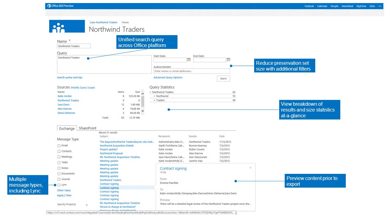 View breakdown of results and size statistics at-a-glance Unified search query across Office platform Reduce preservation set size with additional filters Preview content prior to export Multiple message types, including Lync