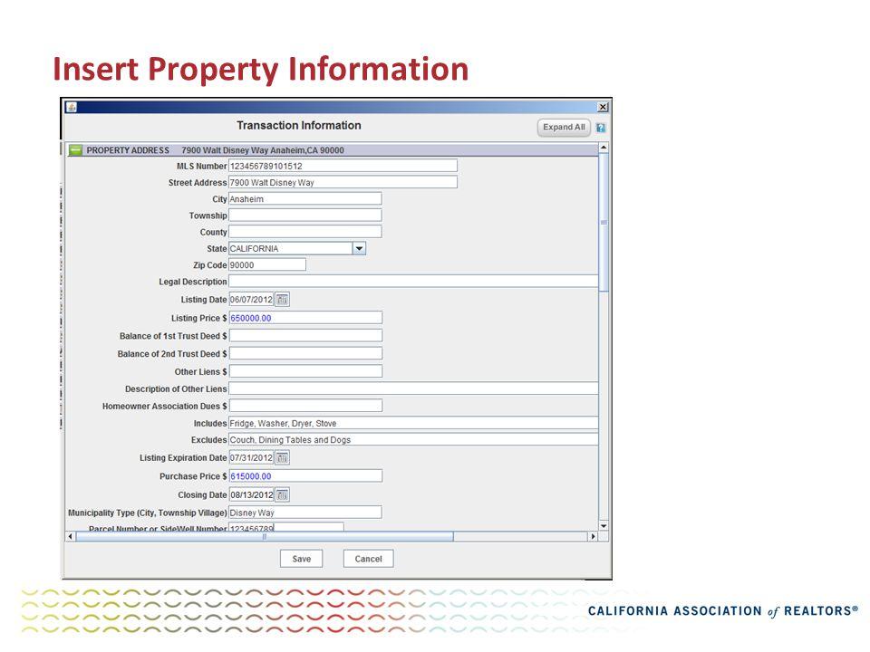 Insert Property Information