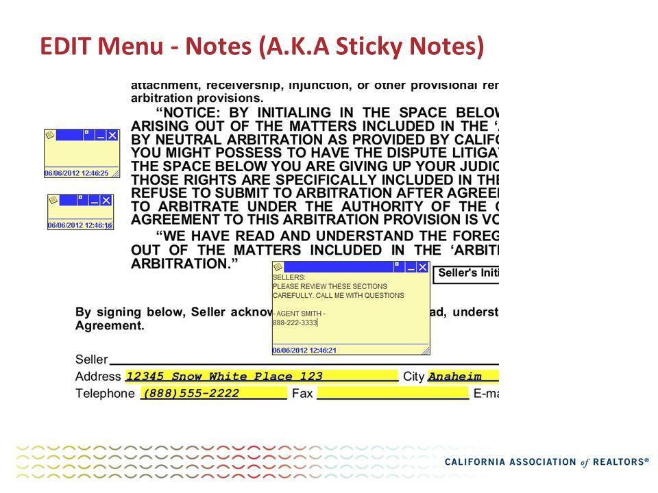 EDIT Menu - Notes (A.K.A Sticky Notes)