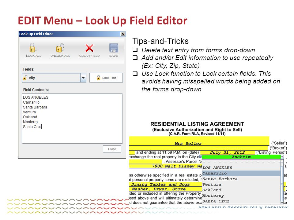 EDIT Menu – Look Up Field Editor Tips-and-Tricks  Delete text entry from forms drop-down  Add and/or Edit information to use repeatedly (Ex: City, Zip, State)  Use Lock function to Lock certain fields.