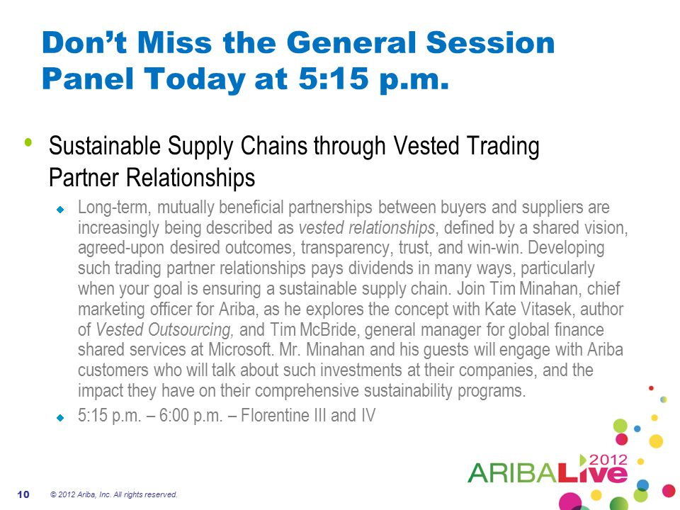 Don't Miss the General Session Panel Today at 5:15 p.m. © 2012 Ariba, Inc. All rights reserved. 10 Sustainable Supply Chains through Vested Trading Pa