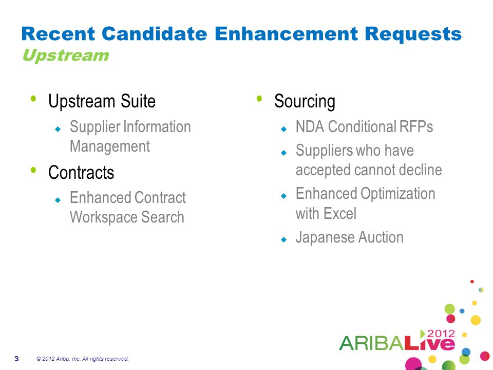 Recent Candidate Enhancement Requests Upstream Upstream Suite  Supplier Information Management Contracts  Enhanced Contract Workspace Search Sourcin