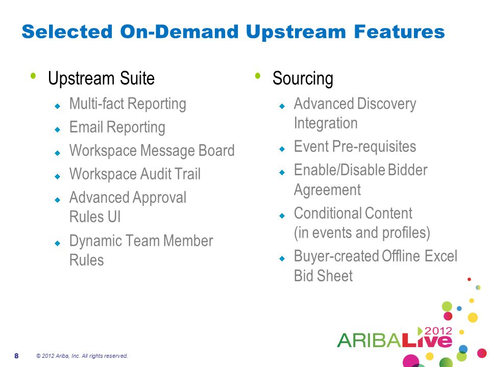 Selected On-Demand Upstream Features Upstream Suite  Multi-fact Reporting  Email Reporting  Workspace Message Board  Workspace Audit Trail  Advan