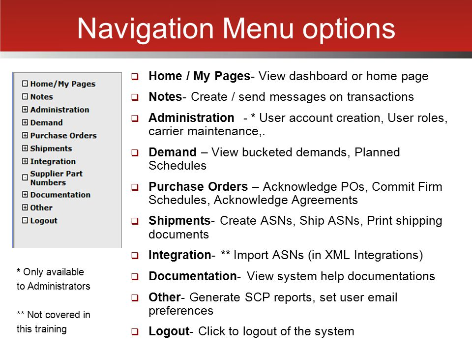 Navigation Menu options  Home / My Pages- View dashboard or home page  Notes- Create / send messages on transactions  Administration - * User accou