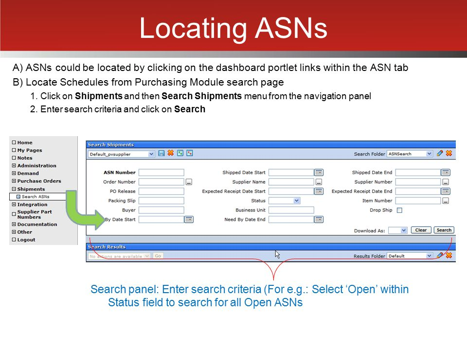 Locating ASNs A) ASNs could be located by clicking on the dashboard portlet links within the ASN tab B) Locate Schedules from Purchasing Module search
