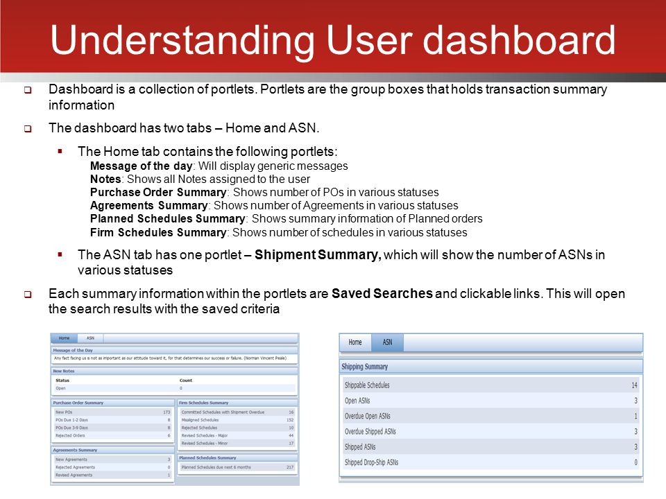 Understanding User dashboard  Dashboard is a collection of portlets. Portlets are the group boxes that holds transaction summary information  The da
