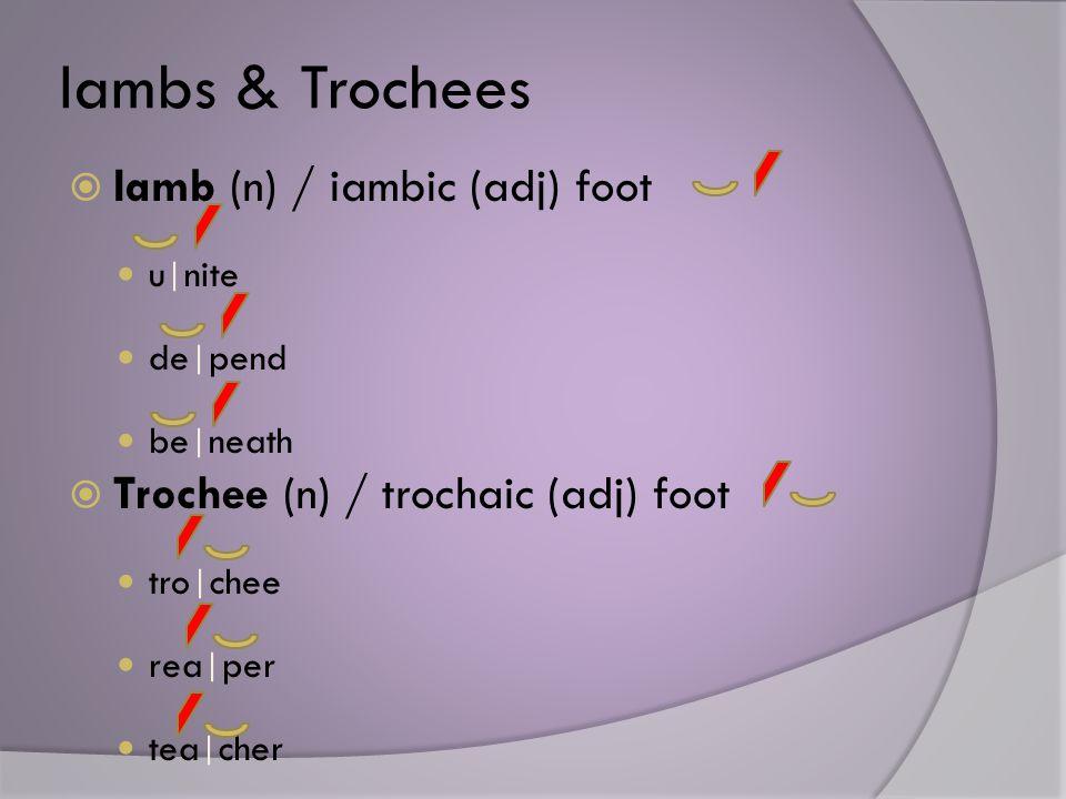 Iambs & Trochees  Iamb (n) / iambic (adj) foot u | nite de | pend be | neath  Trochee (n) / trochaic (adj) foot tro | chee rea | per tea | cher