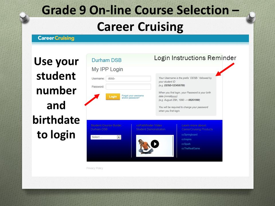Grade 9 On-line Course Selection – Career Cruising Use your student number and birthdate to login Login Instructions Reminder