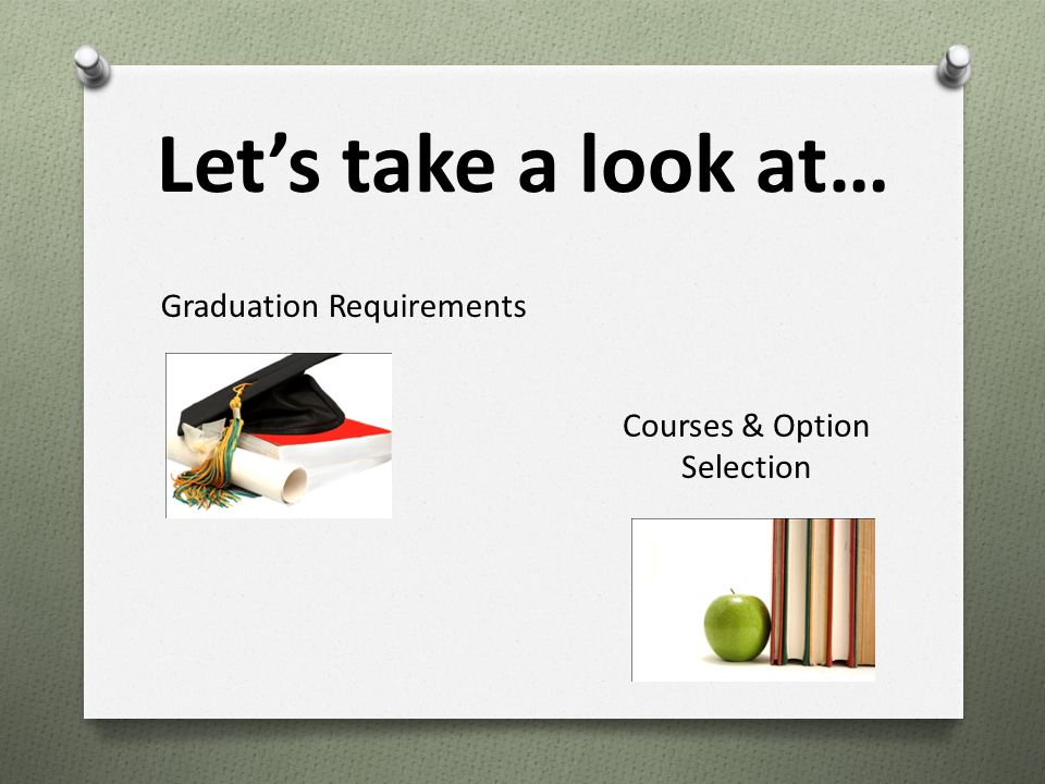 Let's take a look at… Graduation Requirements Courses & Option Selection