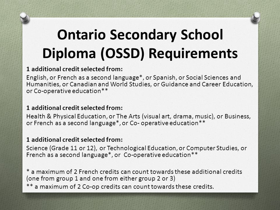 Ontario Secondary School Diploma (OSSD) Requirements 1 additional credit selected from: English, or French as a second language*, or Spanish, or Socia