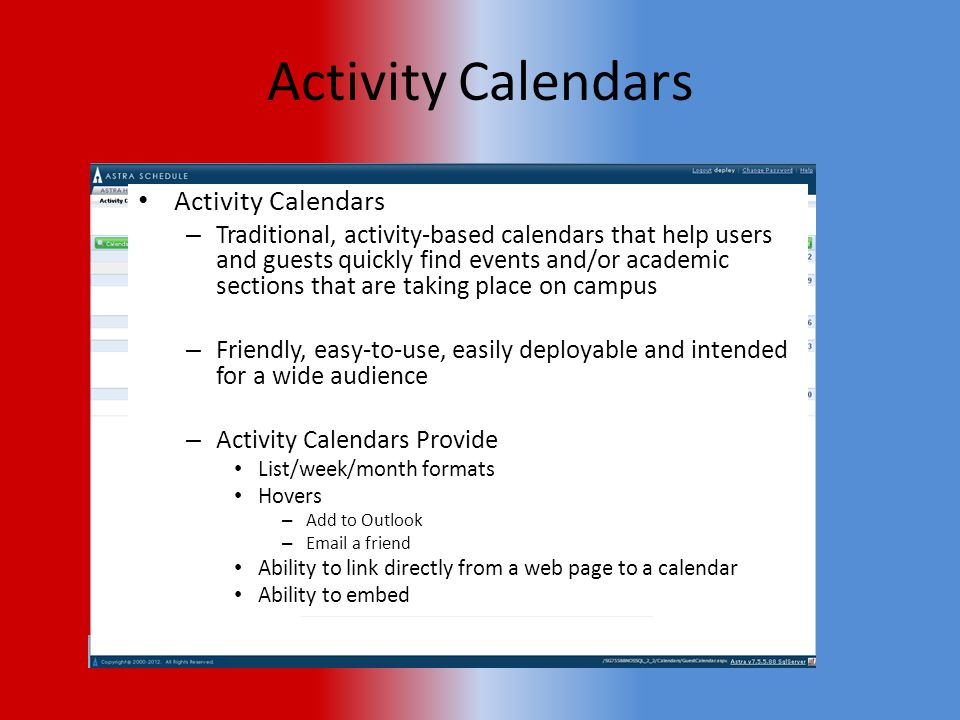 Summary Activity Calendars Events….. Events….. Events….. Notifications Attendee Management
