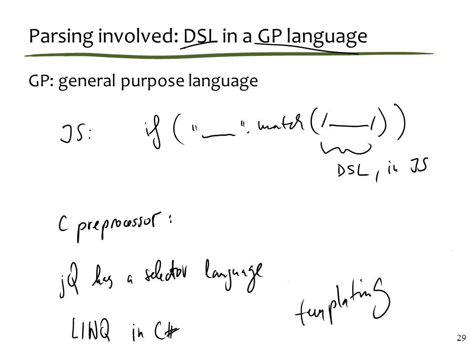 Parsing involved: DSL in a GP language GP: general purpose language 29