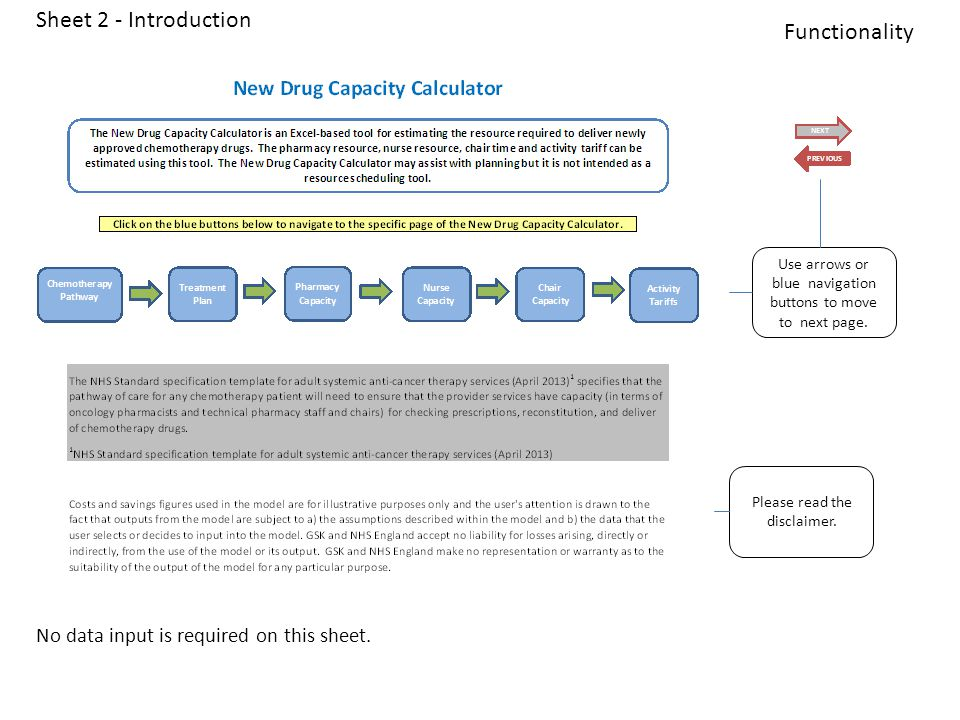 Sheet 7 – Chair Capacity Shows the different drug types that need to be delivered for the new regimen in the chemotherapy unit.
