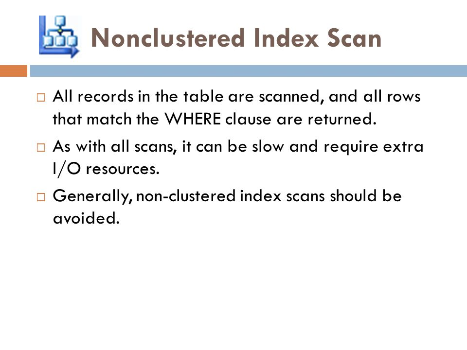 Nonclustered Index Scan  All records in the table are scanned, and all rows that match the WHERE clause are returned.  As with all scans, it can be