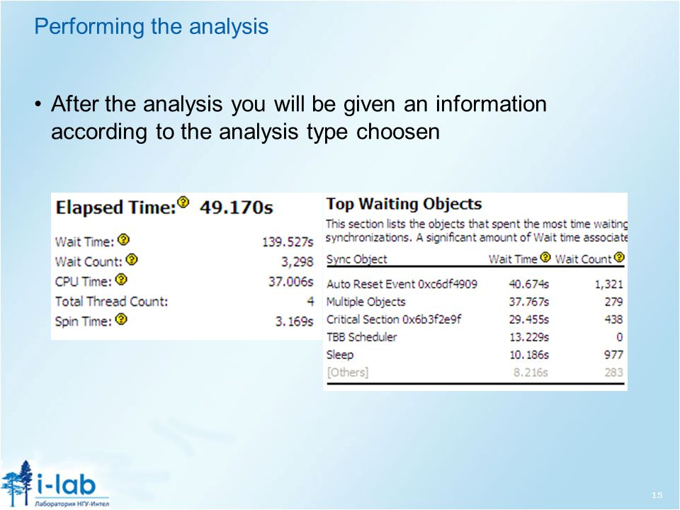 Performing the analysis After the analysis you will be given an information according to the analysis type choosen 15