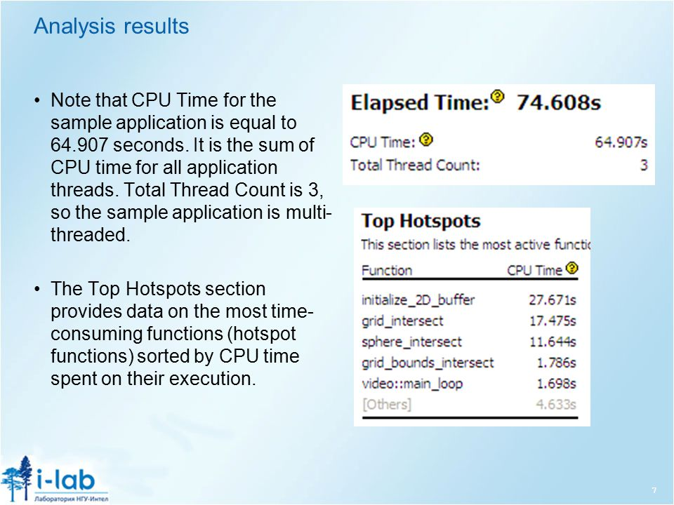 Analysis results Note that CPU Time for the sample application is equal to 64.907 seconds.
