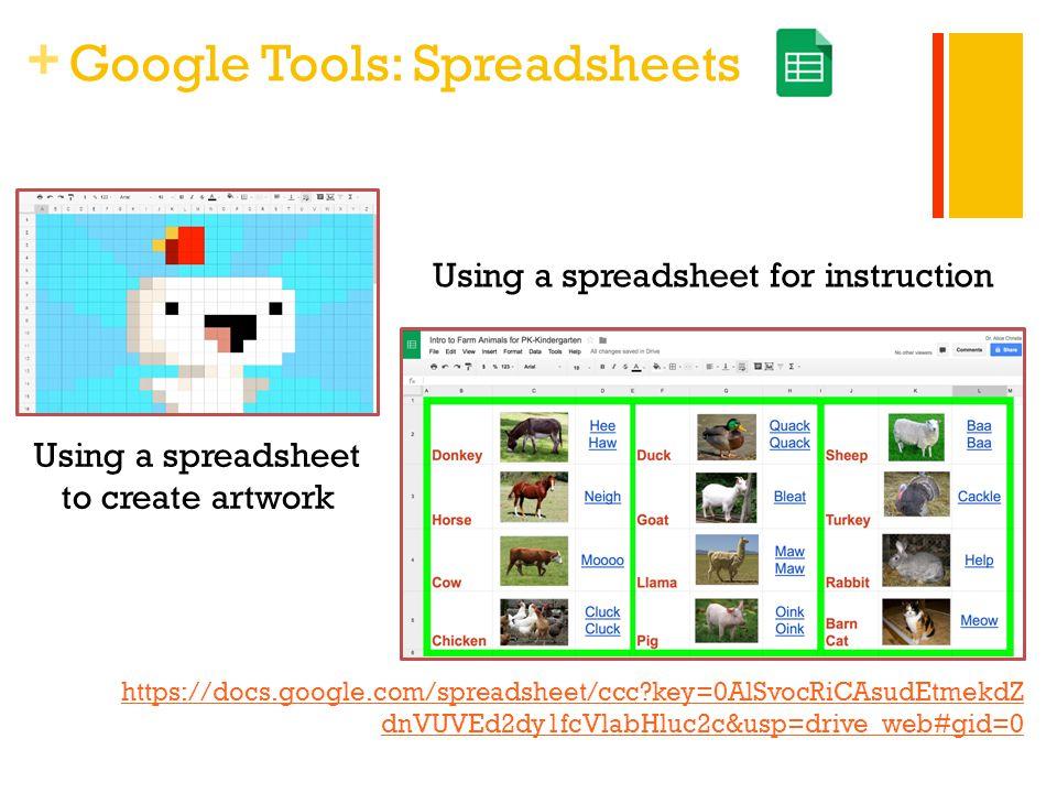 + Google Tools: Spreadsheets https://docs.google.com/spreadsheet/ccc?key=0AlSvocRiCAsudEtmekdZ dnVUVEd2dy1fcVlabHluc2c&usp=drive_web#gid=0 Using a spr