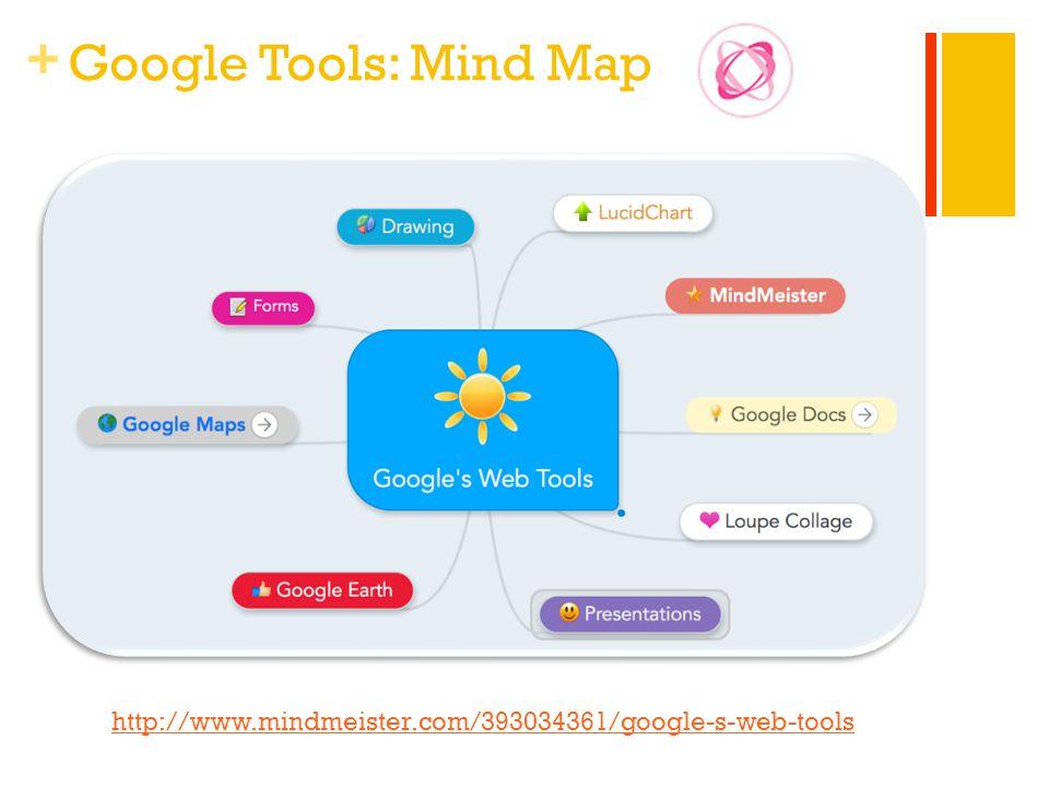 + Google Tools: Mind Map http://www.mindmeister.com/393034361/google-s-web-tools