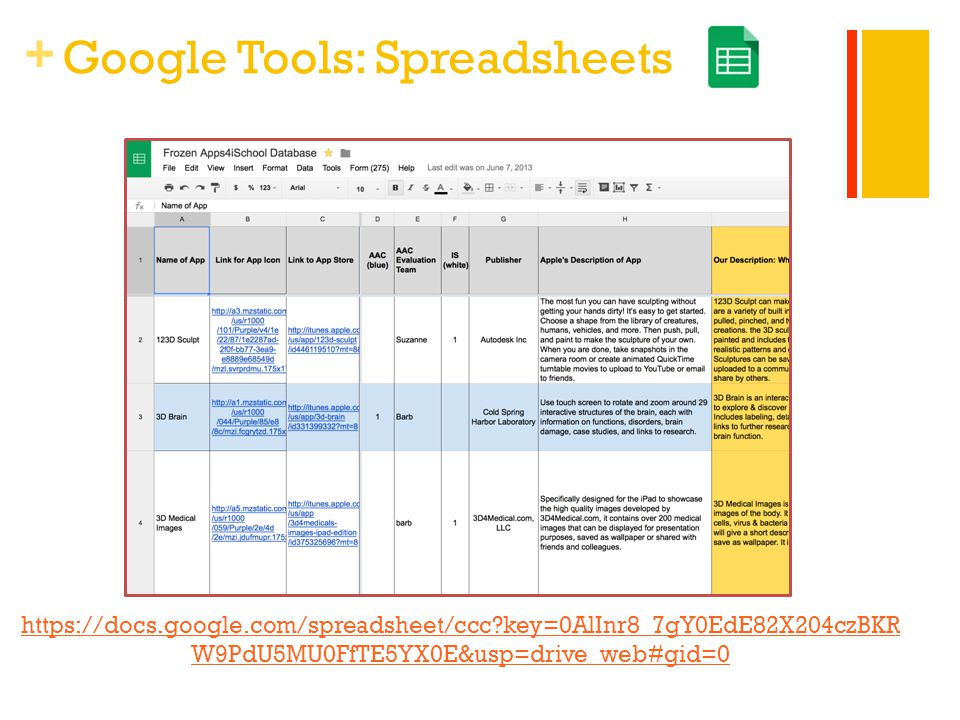 + Google Tools: Spreadsheets https://docs.google.com/spreadsheet/ccc?key=0AlInr8_7gY0EdE82X204czBKR W9PdU5MU0FfTE5YX0E&usp=drive_web#gid=0