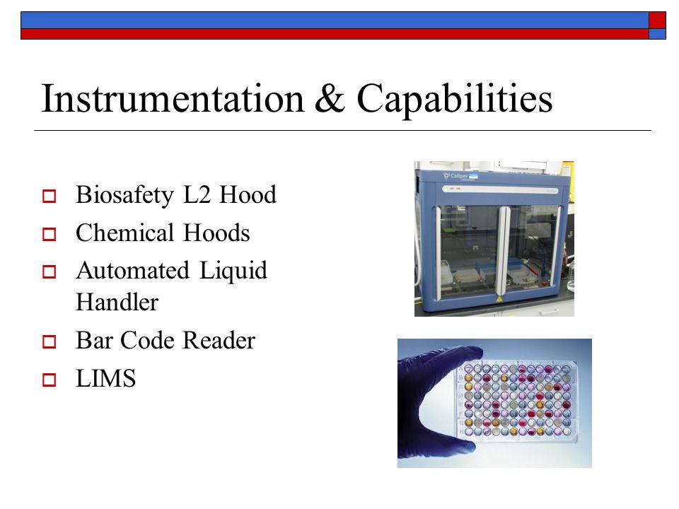 Instrumentation & Capabilities  Biosafety L2 Hood  Chemical Hoods  Automated Liquid Handler  Bar Code Reader  LIMS