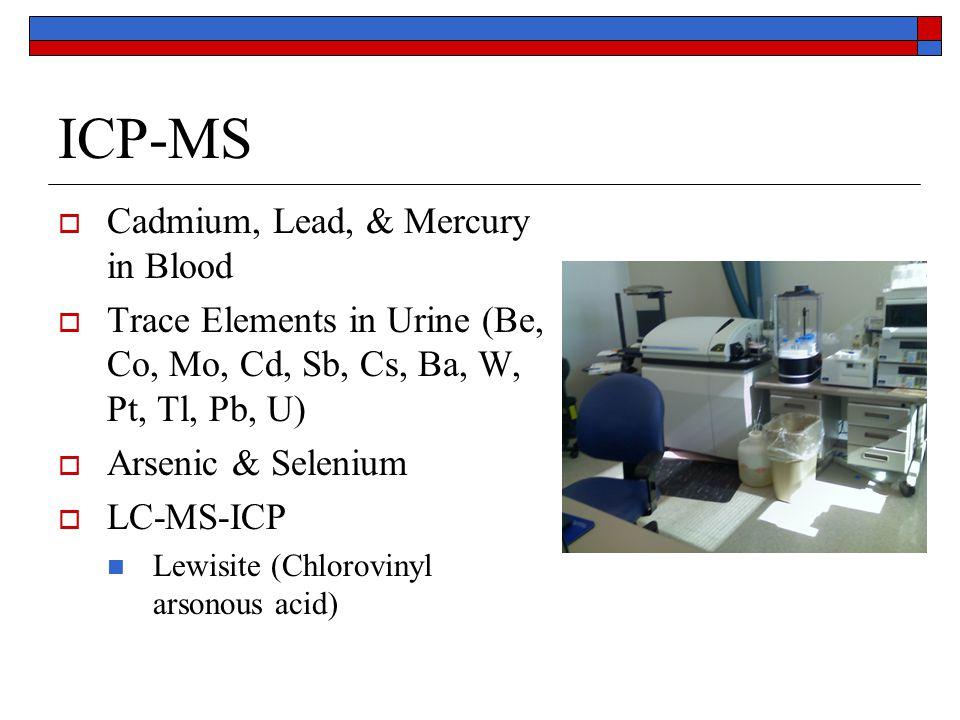 ICP-MS  Cadmium, Lead, & Mercury in Blood  Trace Elements in Urine (Be, Co, Mo, Cd, Sb, Cs, Ba, W, Pt, Tl, Pb, U)  Arsenic & Selenium  LC-MS-ICP Lewisite (Chlorovinyl arsonous acid)