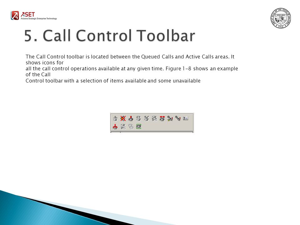 The Call Control toolbar is located between the Queued Calls and Active Calls areas.