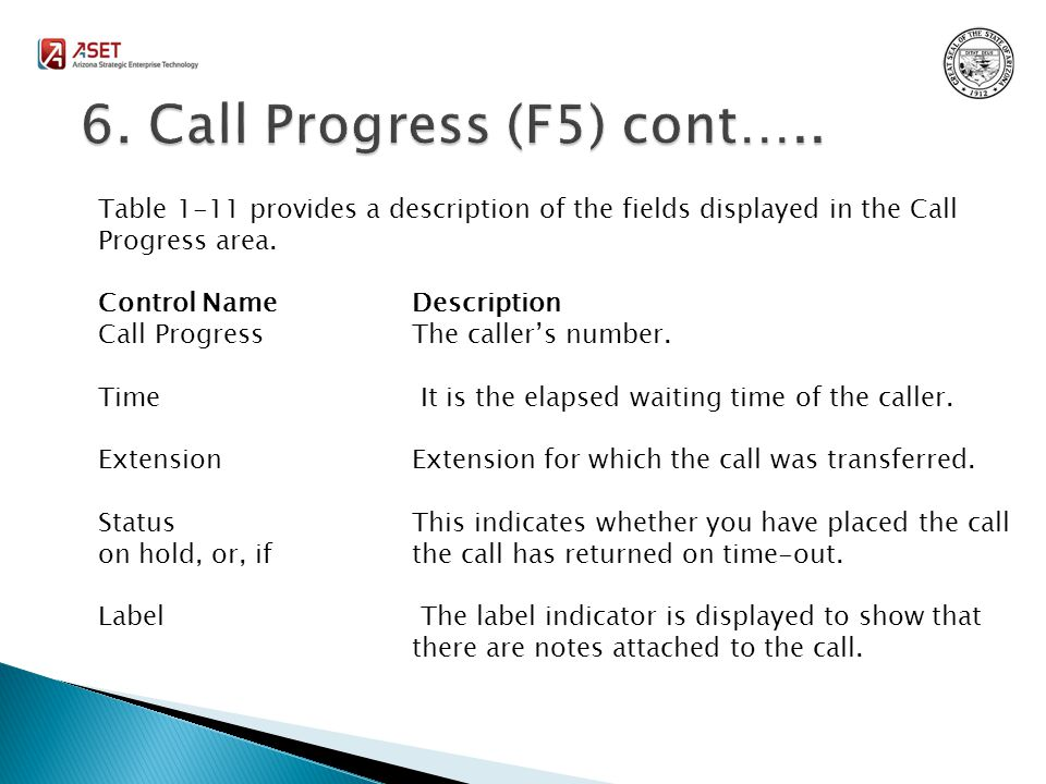 Table 1-11 provides a description of the fields displayed in the Call Progress area.
