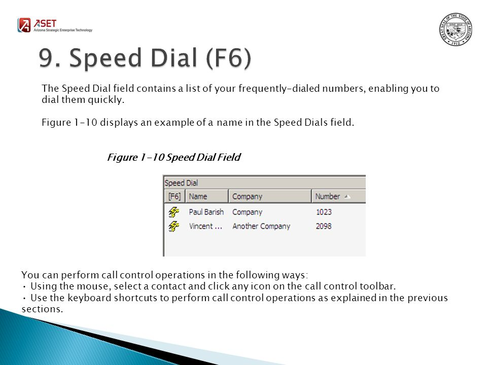 The Speed Dial field contains a list of your frequently-dialed numbers, enabling you to dial them quickly.