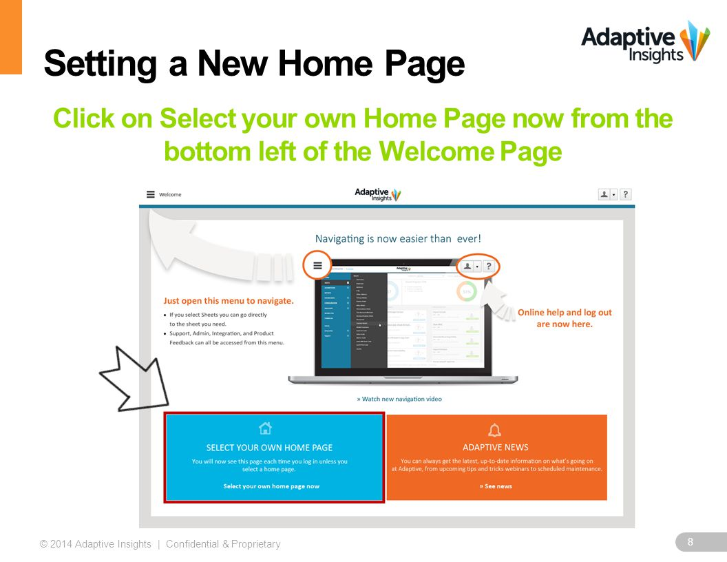 8 © 2014 Adaptive Insights | Confidential & Proprietary Click on Select your own Home Page now from the bottom left of the Welcome Page Setting a New Home Page