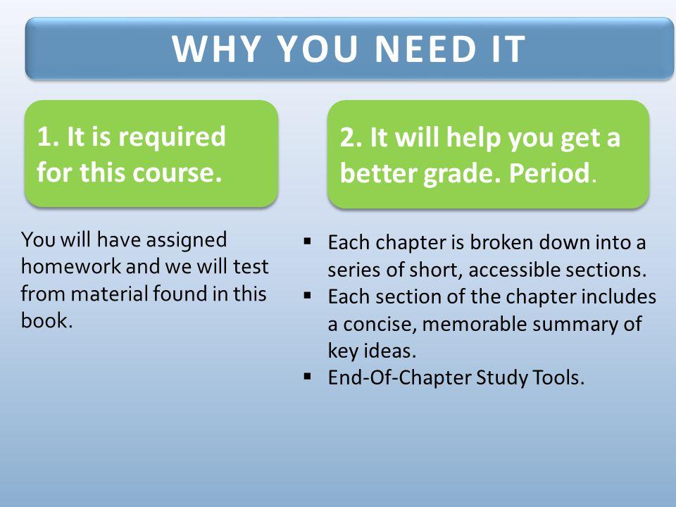 You will have assigned homework and we will test from material found in this book.  Each chapter is broken down into a series of short, accessible se