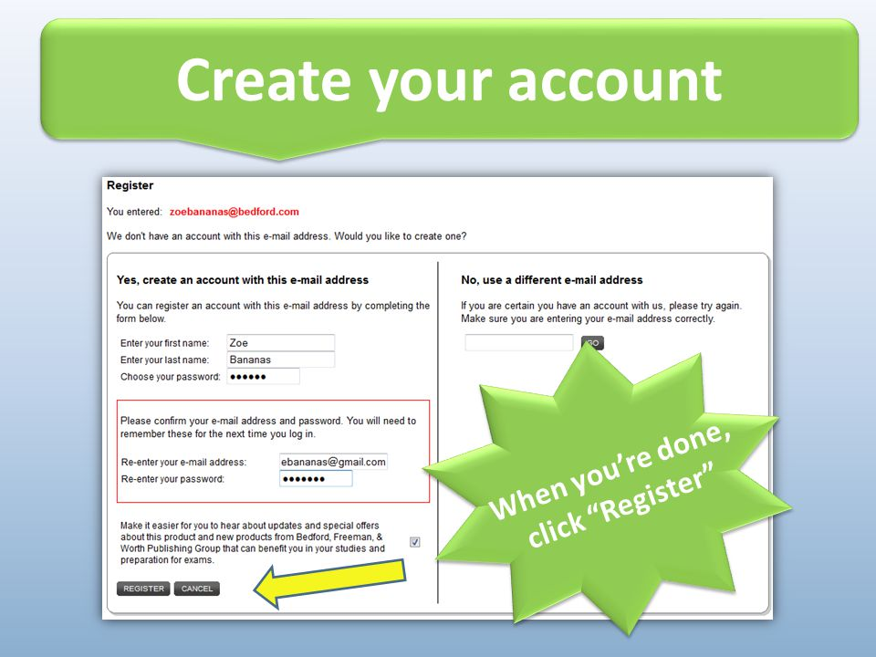 """Create your account Alert! Do not throw away your access card until you're registered! When you're done, click """"Register"""""""