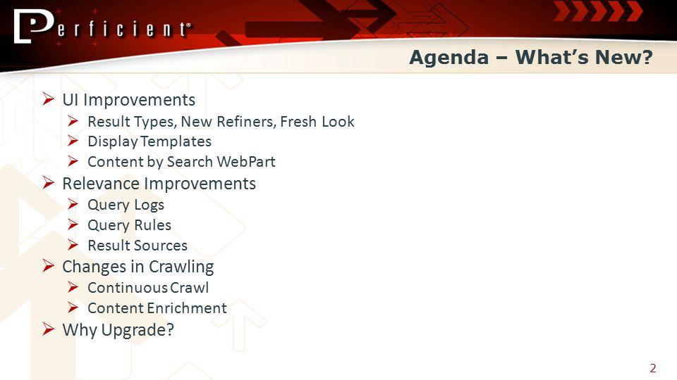 Agenda – What's New.