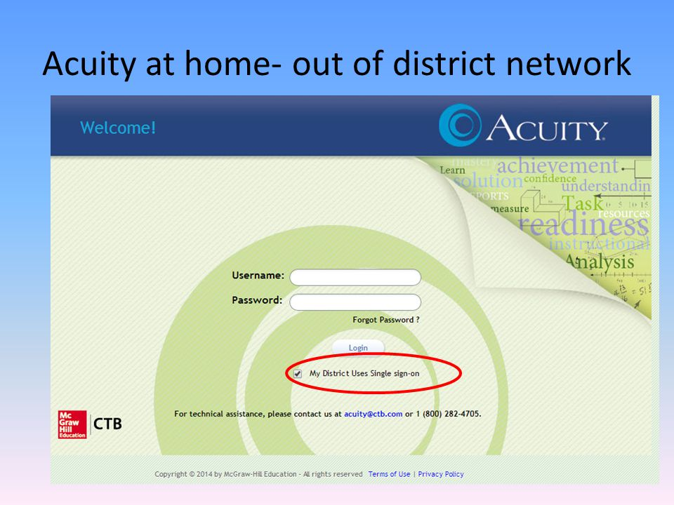 Acuity at home- out of district network