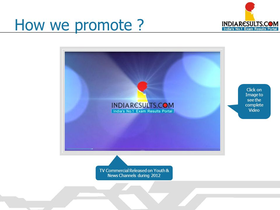 TV Commercial Released on Youth & News Channels during 2012 How we promote ? Click on Image to see the complete Video