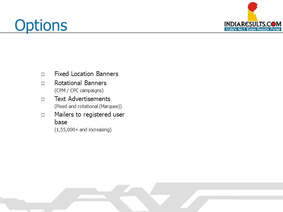  Fixed Location Banners  Rotational Banners (CPM / CPC campaigns)  Text Advertisements (Fixed and rotational (Marquee))  Mailers to registered use